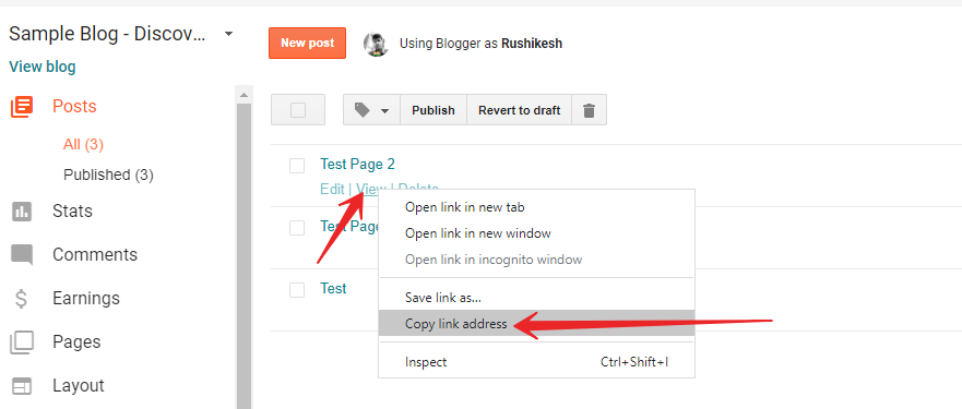 How to copy blogger post url link