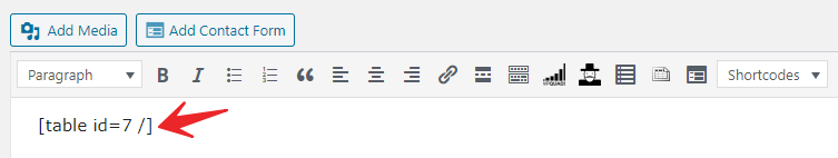 Paste shortcode in blog post or page