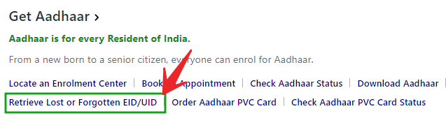 forgot aadhar EID