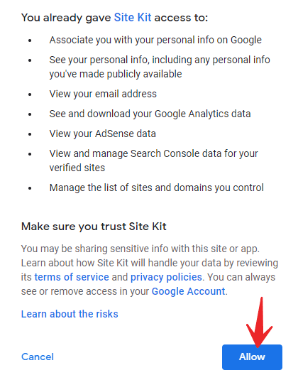 Click allow to continue google analytics