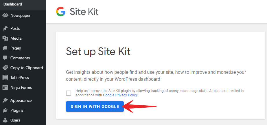 Connect Site kit to Gmail