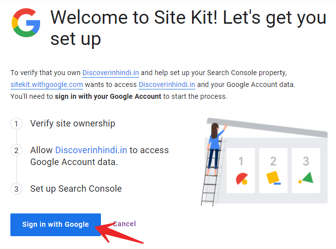 Sign in with google to verify