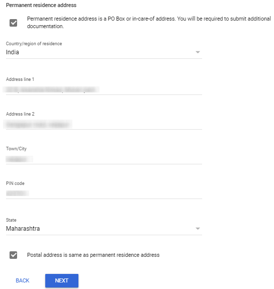 how to submit address in adsense tax form